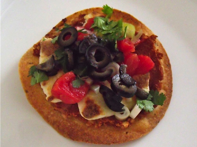 bean and queso fresco tostada