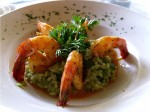 sauteed tiger prawns with green risotto