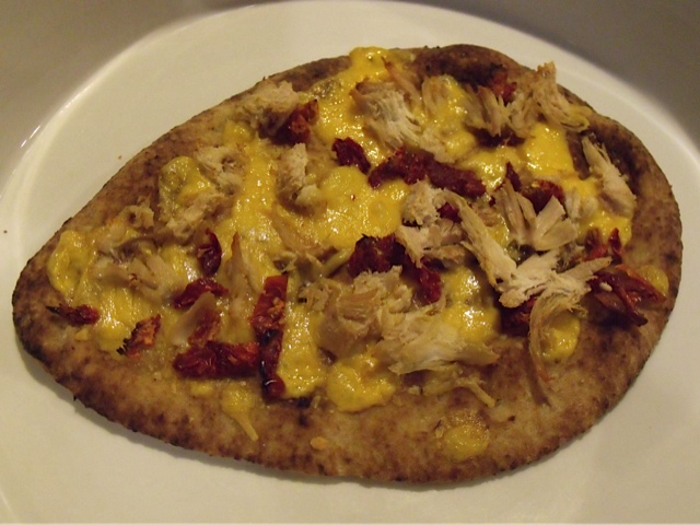 Leftover Turkey Naan Pizza