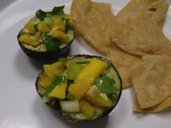 mango salsa with avocado and chips