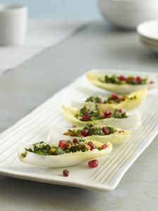 Endive Boats with Green Olive, Parsley, and Walnut Salad