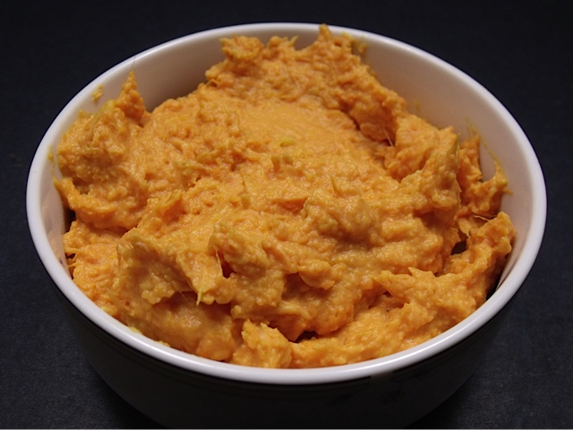 roasted garlic mashed sweet potatoes