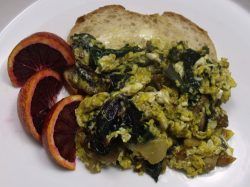 Kale Sprouts Scrambled Eggs and Blood Oranges