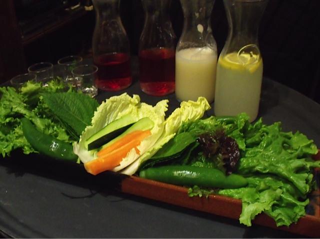 moodaepo vegetables and soju