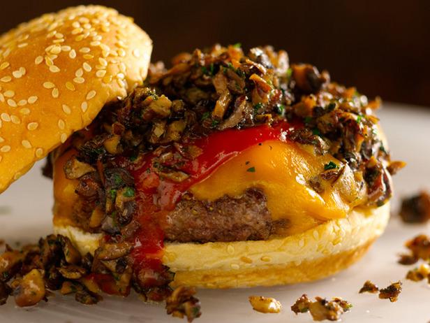 Bobby Flay Cheddar Mushroom Burger