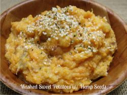 mashed sweet potatoes with hemp seeds