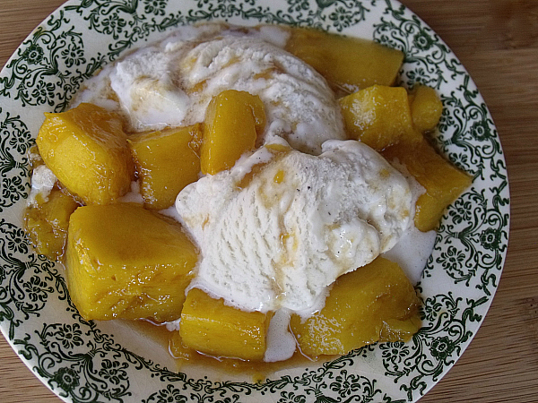 Roast Mango with Balsamic Vinegar served over ice cream