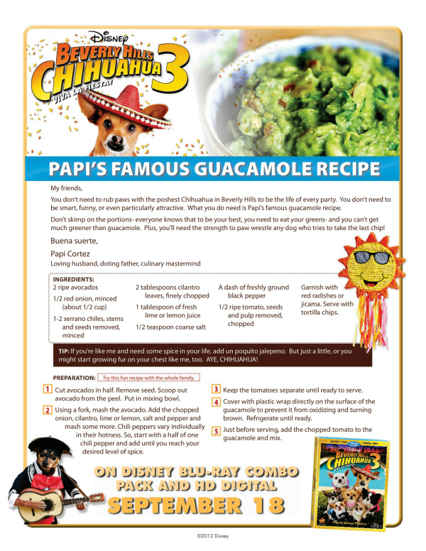 Disney Beverly Hills Chihuahua Papi's Famous Guacamole Recipe