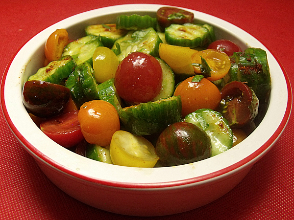 Heirloom Tomato and Cucumber Salad with Hatch Chile