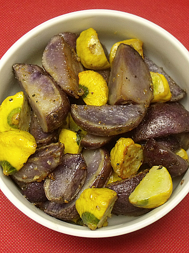 Purple Potatoes and Yellow Squash
