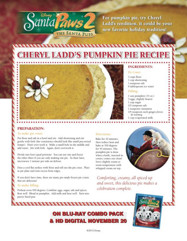 Disney Santa Paws Cheryl Ladd's Pumpkin Pie Recipe