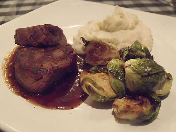 Tournedos du Boeuf, Mashed potatoes, bacon Brussels sprouts