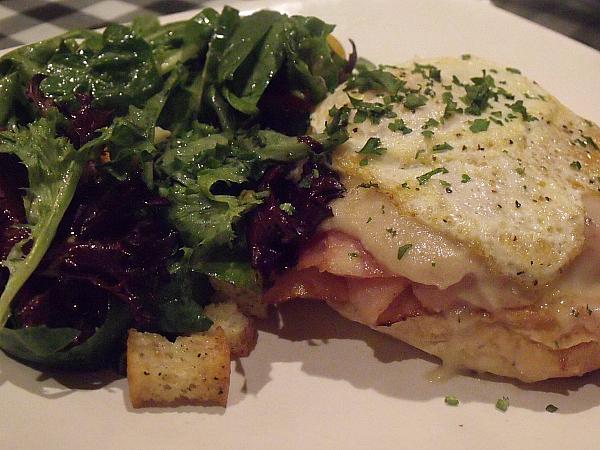 Brioche Croque Madame and salad