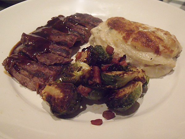 Bistro Bavette Steak with au gratin potatoes & Brussels sprouts