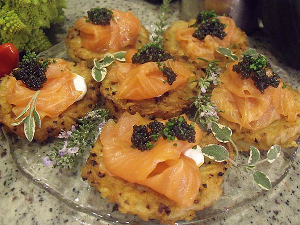 Crispy Potato Galette With Dill Cream, Smoked Salmon and Caviar