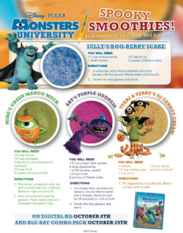 Disney Monster's University Spooky Smoothie Recipes for Halloween