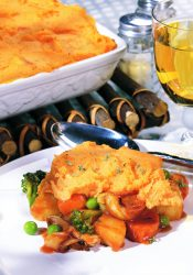 Vegetable Pot Pie with Sweet Potato Topping