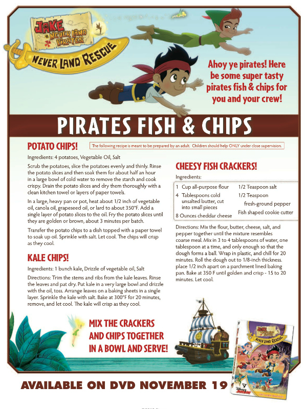 Disney Jake and the Neverland Pirates Recipe - Pirates Fish & Chips