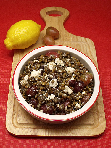 Lentil Salad with Grapes and Feta Cheese