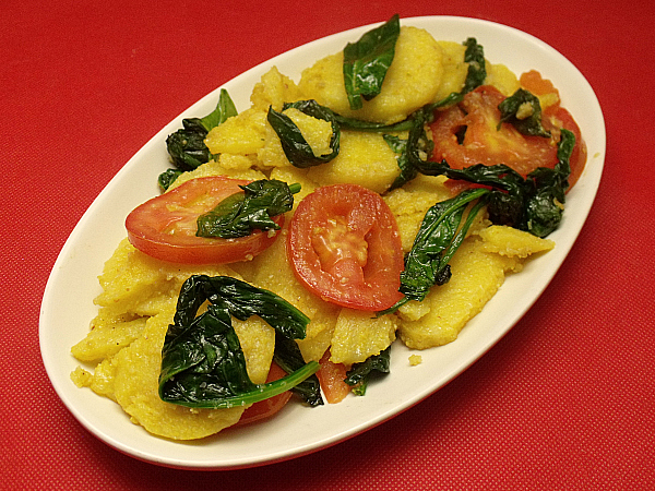 Polenta with Spinach & Tomato