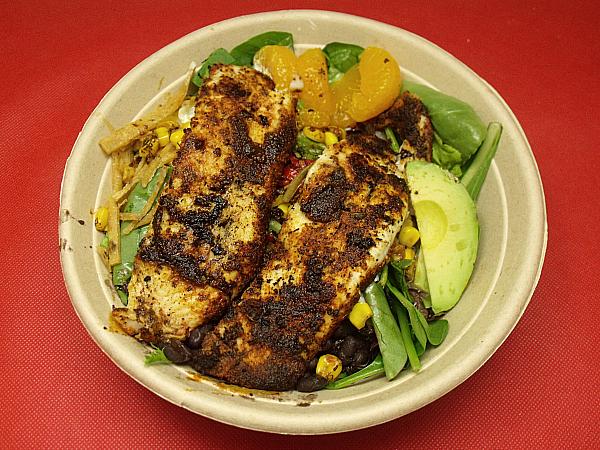 Chipotle Orange Salad with Blackened Tilapia