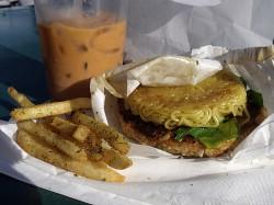 Veggie Ramen Burger and Thai Iced Tea