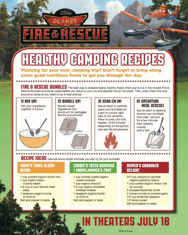 Disney Planes Fire & Rescue Printable Camping Recipes