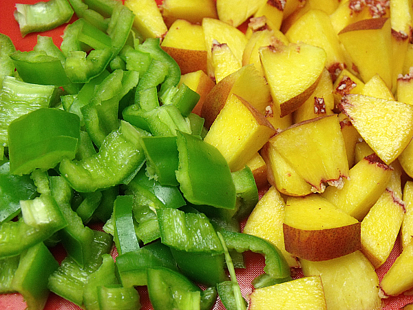 Chopped Hatch Chiles and Peaches