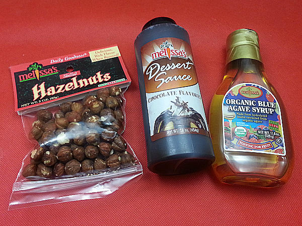 Melissa's Hazelnuts, Chocolate Sauce and Organic Blue Agave Syrup