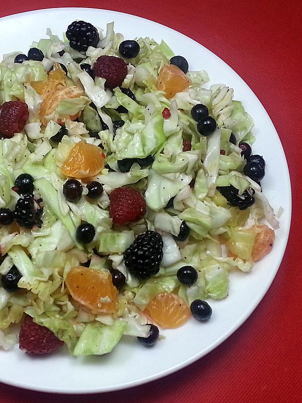 Fresh Fruit Slaw Salad Recipe - a coleslaw twist with raspberries, blueberries, blackberries and tangerine