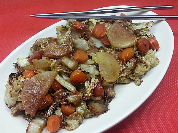 Roasted Napa Cabbage, Carrots and Daikon