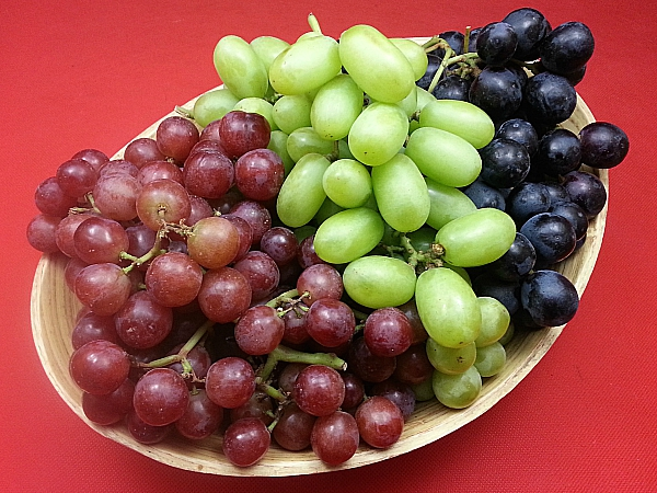 Red, Green and Black Muscato Grapes