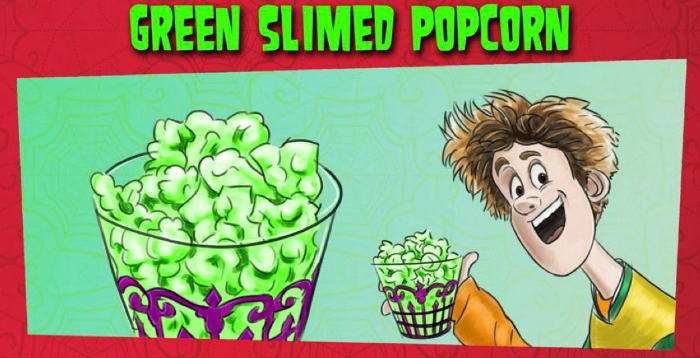 green slimed popcorn recipe