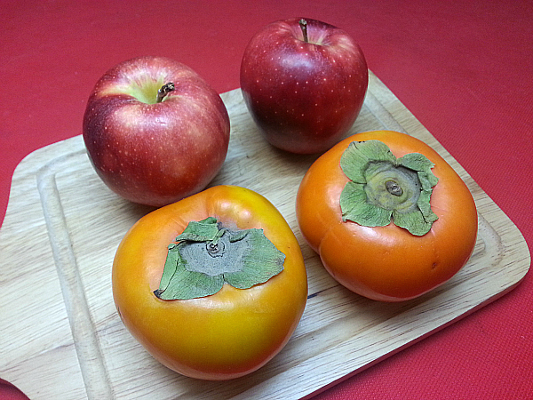 Fuyu Persimmons and Apples