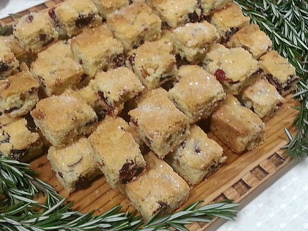 Cranberry Rosemary Pine Nut Shortbread Cookies
