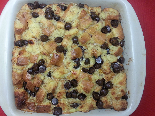 baking dish with dark chocolate bread pudding