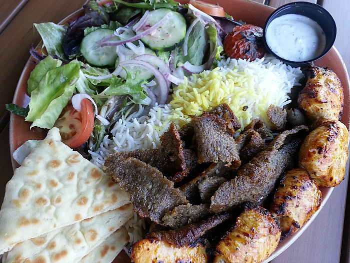 Chicken and Gyro Plate at Luna Grill - Dana Point, California