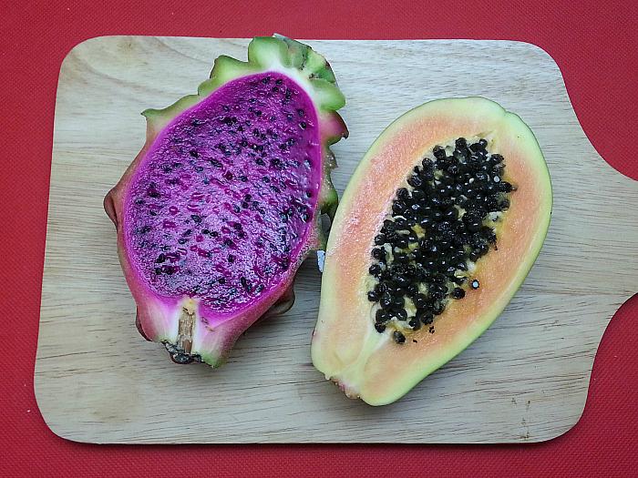 Dragon Fruit (Pitaya) and Strawberry Papaya