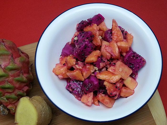 Papaya and Dragon Fruit Salad