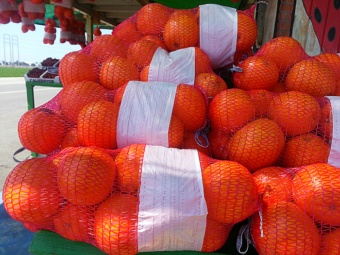 Oranges at Farm Stand on Hueneme Road in Oxnard, California
