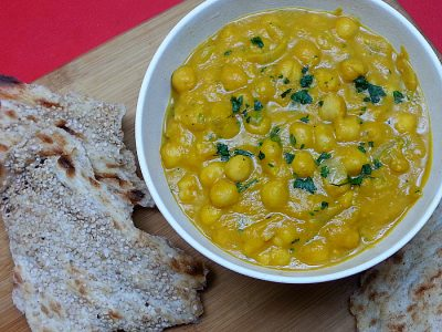 Bowl of Vegan Pumpkin Curry with sangak bread