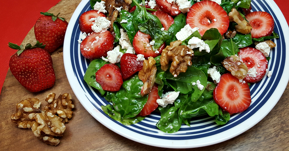 recipe strawberry feta cheese salad with walnuts