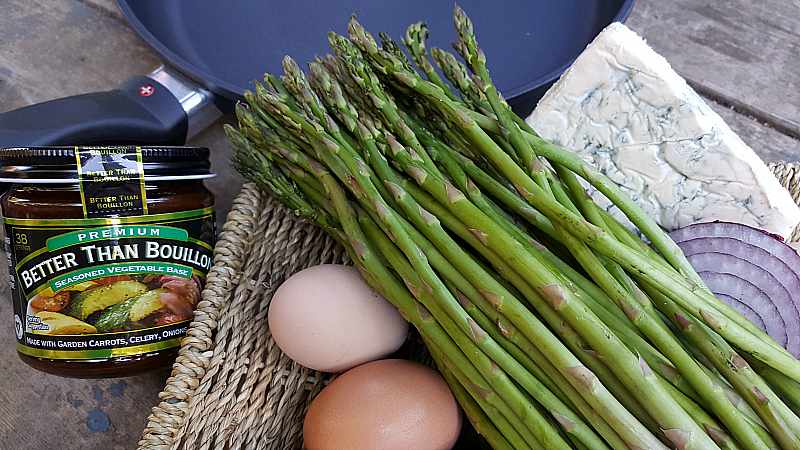 Ingredients for Asparagus Blue Cheese Frittata