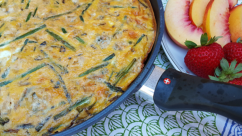 Asparagus Blue Cheese Frittata served with fresh fruit