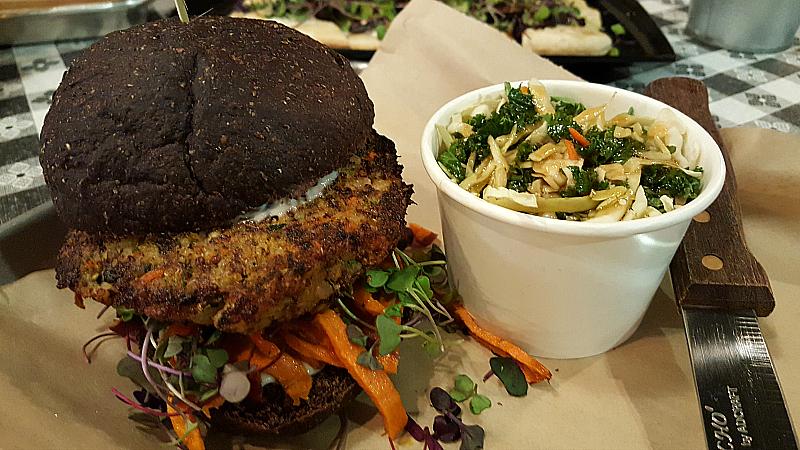 Veggie Burger and Kale Slaw at Green2Go - Brea, California