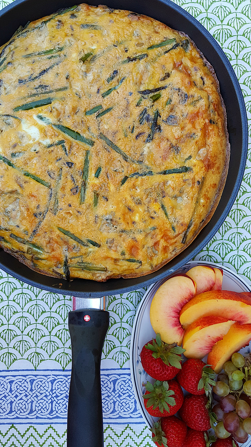 Easy Asparagus Blue Cheese Frittata served with fresh fruit