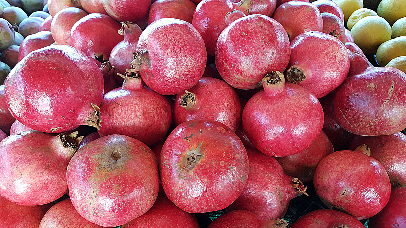Pomegranates at SoCo Farmer's Market - Costa Mesa, California