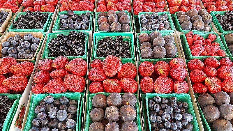 Fresh Berries at SoCo Farmer's Market - Costa Mesa, California