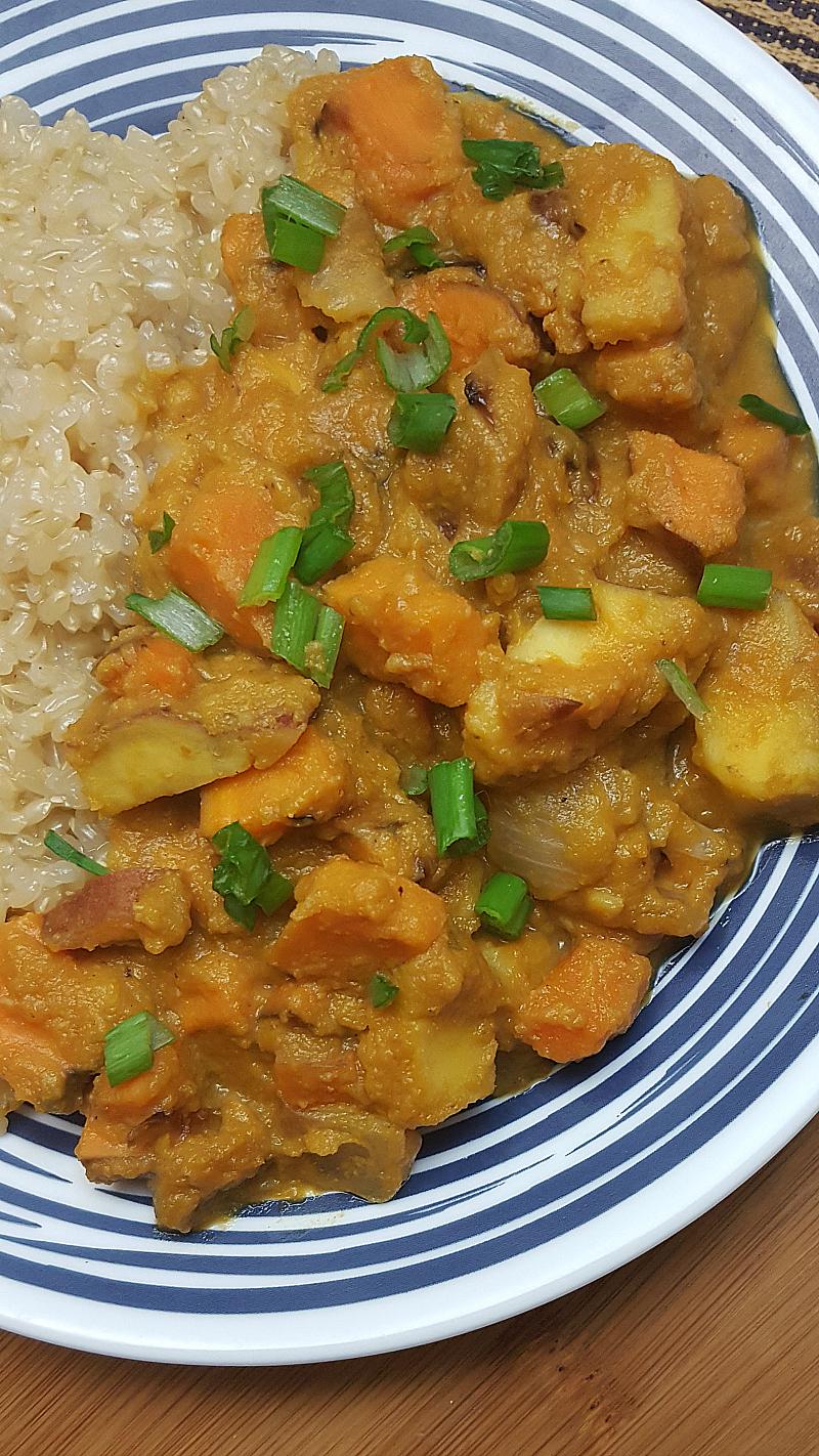 Vegetarian Pumpkin and Sweet Potatoes with Brown Rice