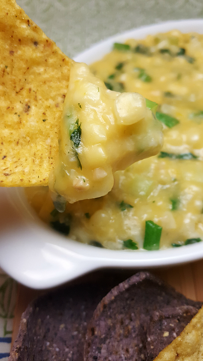 Easy Cheesy Warm Corn Dip made with cream style corn